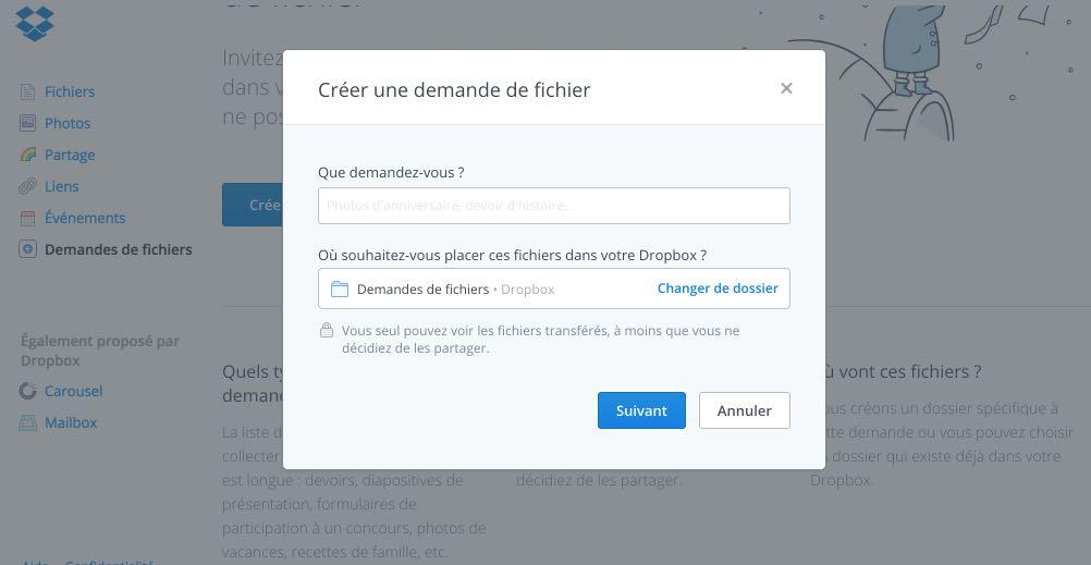 Demande fichier dropbox